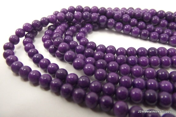 Mountain Jade Round Beads, Purple, 4mm, 16 Inch Strand, Whole Strand