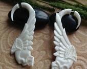 "Fake Gauge Earrings, ""Tribal Skull"" Naturally Organic, Bone, Hand Carved"