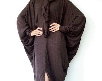 NO.57 Brown Viscose Oversize Knitted Dress, Infinity Scarf Tunic Dress, Cocoon Day Dress