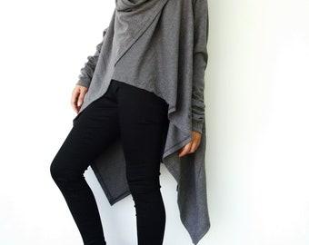 NO.61 Mottled Grey Cotton-Blend Jersey Versatility Cardigan, Wrap Top, Women's Cardigan