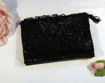 Vintage 1960s Sparkling Black Beaded Evening Bag Purse Clutch Bag with Beaded Fringe
