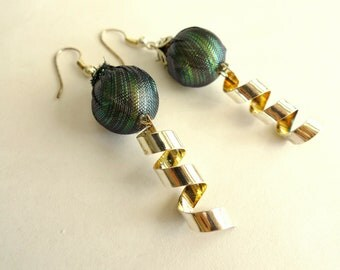 Blue Green Silver and Gold Lantern Earrings