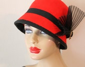 Cloche Hat in Lipstick Red with Vintage Spainsh Button and Crin Fan