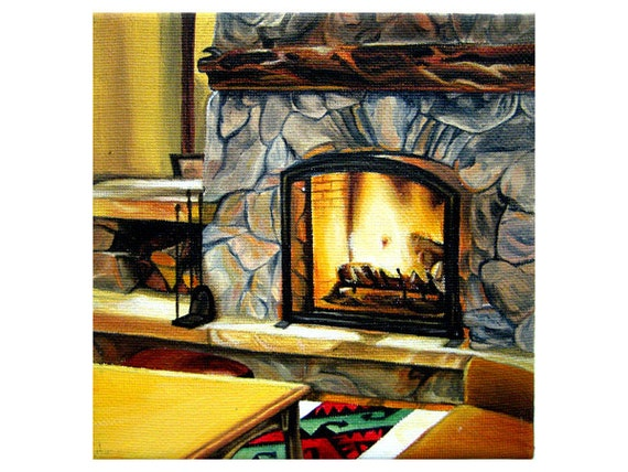 Oil painting of fireplace log cabin December 27