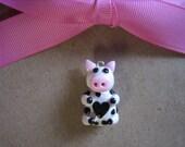 Polymer Clay Cute Fun Farm Animal Heart Cow Charm Accessory