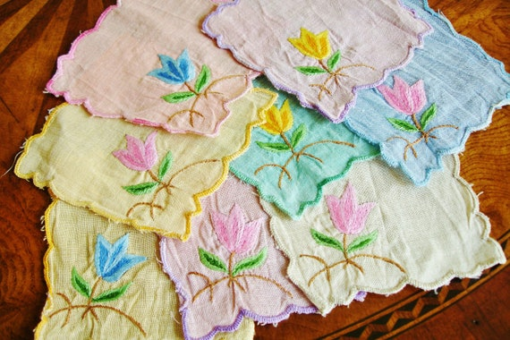 Linen Coaster Cocktail Napkins with Embroidery Set of Eight 1960s