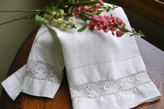 French Linen Huck Towel with hand crocheted insert and damask detailing