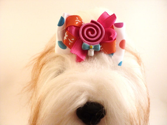 Stacked Dog Hair Bow - Boutique Dog Bow - Bubble Gum Polka Dots, Hot Pink and Orange Dog Bow