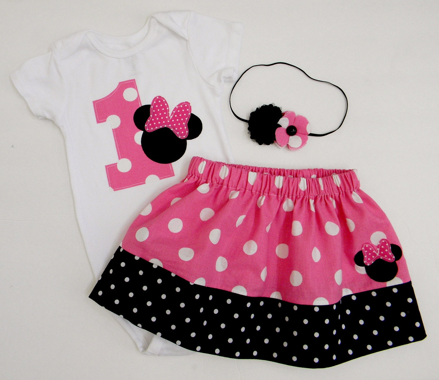 READY TO SHIP Minnie Mouse Birthday Outfit Onesie Skirt