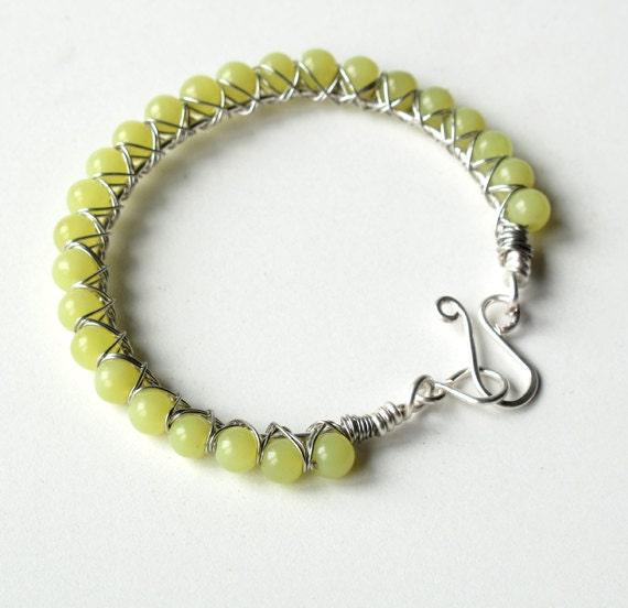 Lime green bracelet - beaded bangle chartreuse gemstones & silver