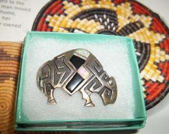 Native American  Buffalo Sterling Silver & Fire Opal Brooch