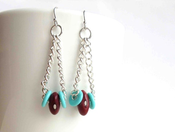 SALE // red and turquoise earrings // natural bean bead jewelry