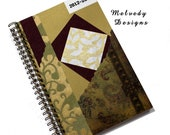 2012 2013 Planner Daily Agenda with Burgundy and Gold Cover
