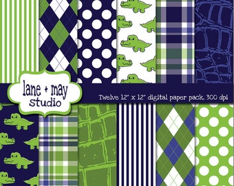 digital scrapbook papers - navy blue and green preppy alligator theme - INSTANT DOWNLOAD