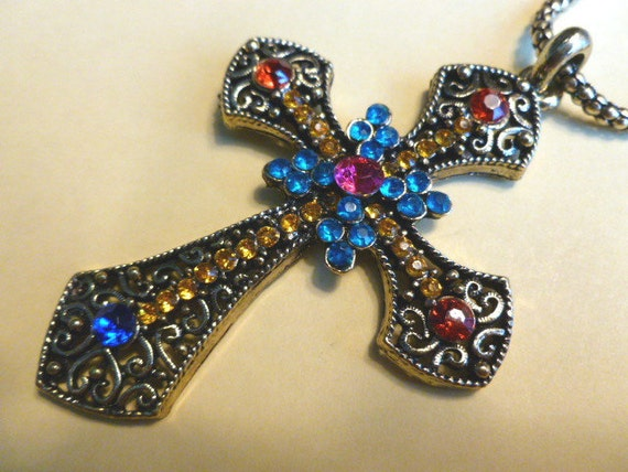 Jumbo Brass Cross with Colorful Crystals and Matching Neckchain