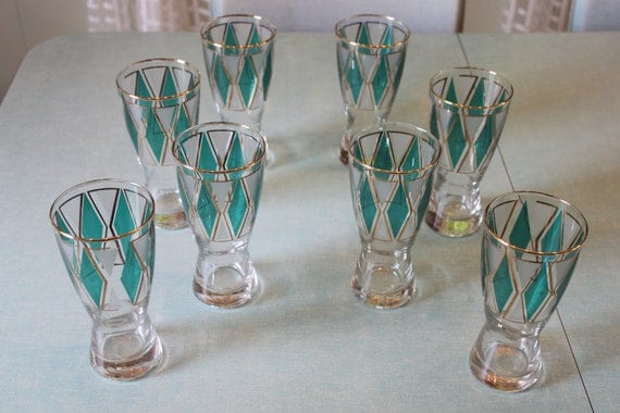 Vintage set of 8 Libby Waisted / Hourglass Glasses with Green Diamonds Gold Lining White Triangles
