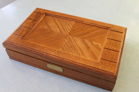 Items similar to vintage solid wood jewelry box chest with for Solid wood jewelry chest