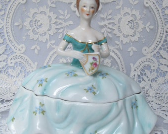 Beautiful Light Blue Victorian Lady handpainted powder jar which includes a handmade wool powderpuff