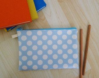 Large POLKA DOT PVC zipper pencil case, cosmetic bag, snack bag,  rectangle shaped, waterproof -  Polka dot