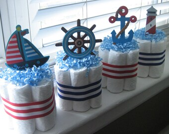 FOUR Nautical Mini Diaper Cakes for Baby Shower Decoration or New Baby Gift, Nautical Baby Shower, Nautical Diaper Cake