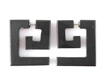 "Fake Gauge Earrings - Wood Tribal Earrings - Fake Plug Piercing Jewelry - Push Back ""Black Aztec Maze"" Spiral Sono Wood Earrings"
