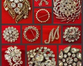 Vintage Rhinestone Brooch Set of 20 with case