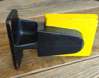 Industrial Foundry Mold, Vintage, Wood, Yellow, Black, Distressed, Rustic, Salvaged