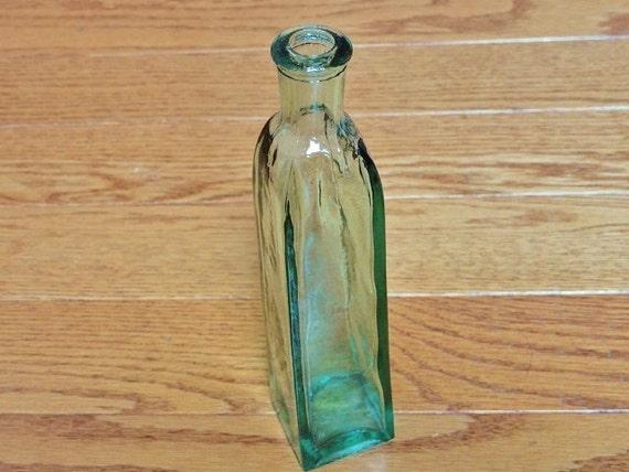 Blue Glass Bottle, Vintage Bud Vase, Home Decor