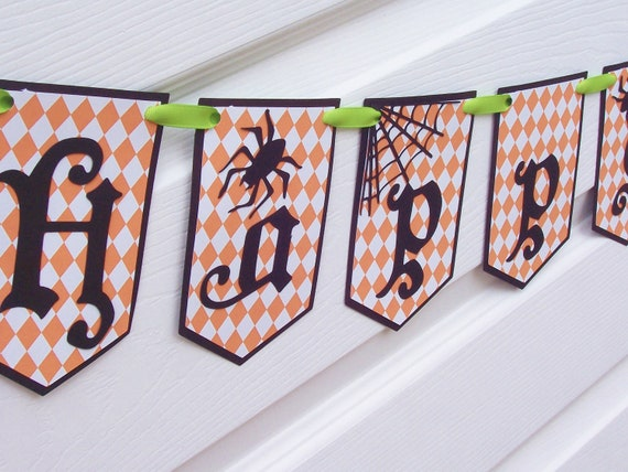 Happy Halloween  Party Banner - Halloween Wall Decor - Paper Bunting - Photo Prop - Halloween Home Decor