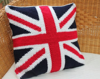 knitted union jack pillow cover, knitted cushion cover, throw pillow