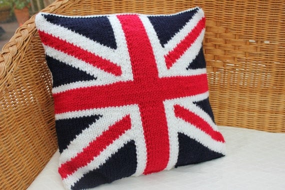 Knitting Pattern Union Jack Cushion Cover : knitted union jack pillow cover knitted cushion by WoollyBudgie