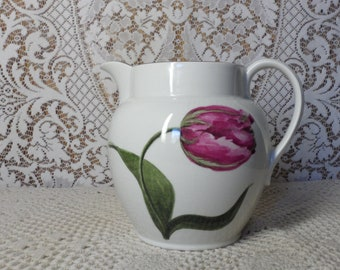 Laura Ashley Ceramic Pitcher  Tulip and Bee Motif  Maroon Pin Stripping Botanical  Made in England