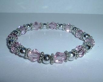 Shimmering Pink Beaded Stretch Bracelet