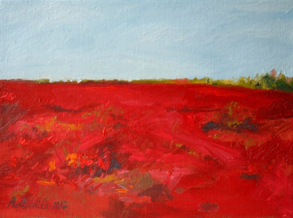 """Blueberry BARRENS red in Autumn  Expressive small  Landscape Painting Abstract  Maine Original art oil on 12""""X16"""" canvas"""