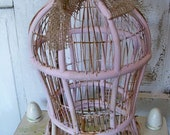 Vintage pale pink rusty birdcage shabby chic metal wood decor piece Anita Spero