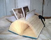 Altered book recycled folded letter holder cardholder paper sculpture Anita Spero