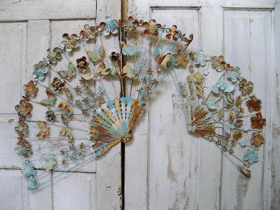 VIntage antique metal tole ware wall fans distressed rusty aqua white shabby wall decor Anita Spero