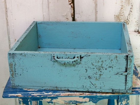VIntage big wooden drawer hand painted beachy blue organizer wall shelf Anita Spero