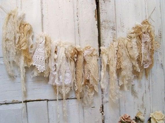 Shabby chic lace fabric garland romantic wall hanging hand made cream vanilla white home decor Christmas decoration Anita Spero