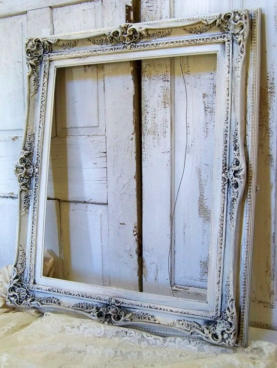 Reserved for Nathan .Large ornate frame hand painted cream distressed shabby chic French provincial Anita Spero