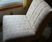 Chair Armless Lounge Upholstered with Tan Swirls