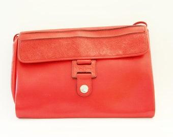 Vintage red handbag, 1970s leather bag, Italian leather purse signed Mangiameli