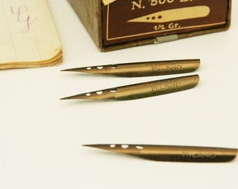 Vintage quill nibs, 1950's, set of three, Italian calligraphy, back to school