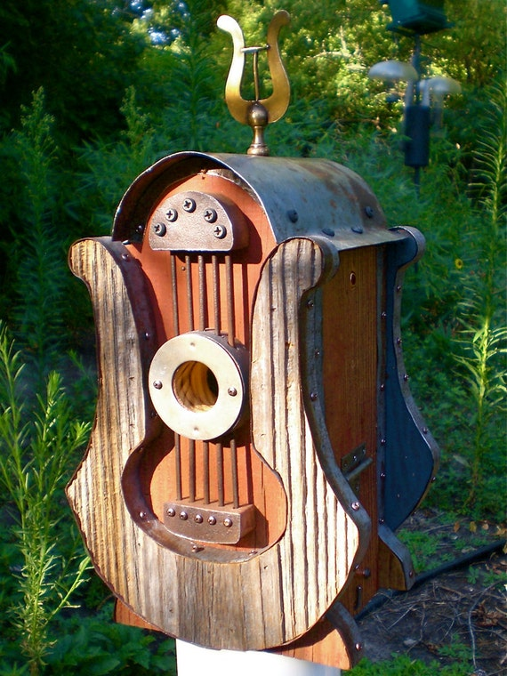 RESERVED for Yvette: Lyre-Shaped Birdhouse Made of Reclaimed Barn Wood and Metal Roofing
