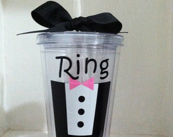 Personalized Ring Bearer, 16 oz, Acrylic, BPA Free Tumbler with Straw