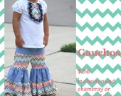 Gauchos in chevron and chambray