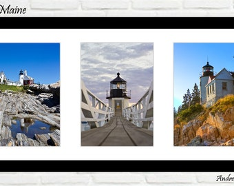 Lighthouses of Maine - Set of 3 11x14s - Choose from Portland Head Light, Marshall Point, Pemaquid Point, etc.