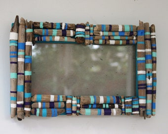 Driftwood Frame with white, purple, aqua, turquoise, sky blue stripes and bands (Made to Order)