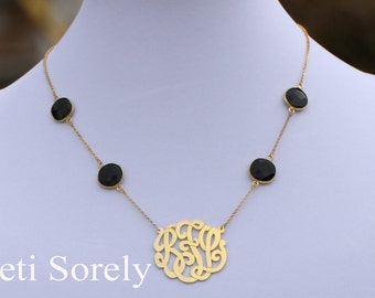 Handmade Initials Necklace With Onyx Stones - Monogram Necklace with Gemstones - Sterling Silver, Yellow Gold or Rose Gold
