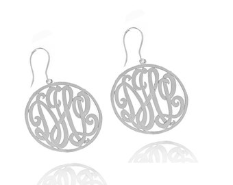 Handcrafted Monogrammed Earrings Small Size (order any initials)- 24K Gold & Silver